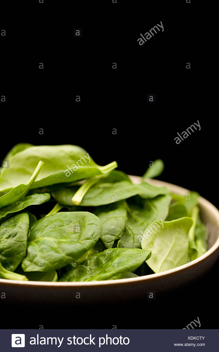 Bowl of spinach leaves Stock Photo