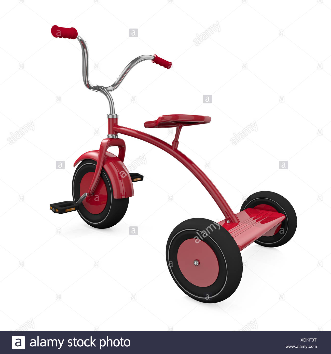 tricycle childhood bike bicycle cycle red object big large enormous extreme Stock Photo