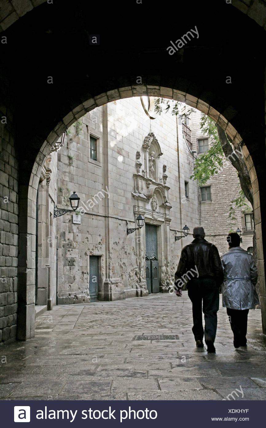 square, Sant Felip Neri church, architect; Pere Bertran, baroco, gothic quarter, Barcelona, Catalonia, Spain. - Stock Image