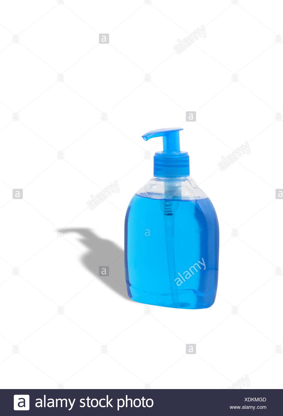 Blue Liquid Soap - Stock Image