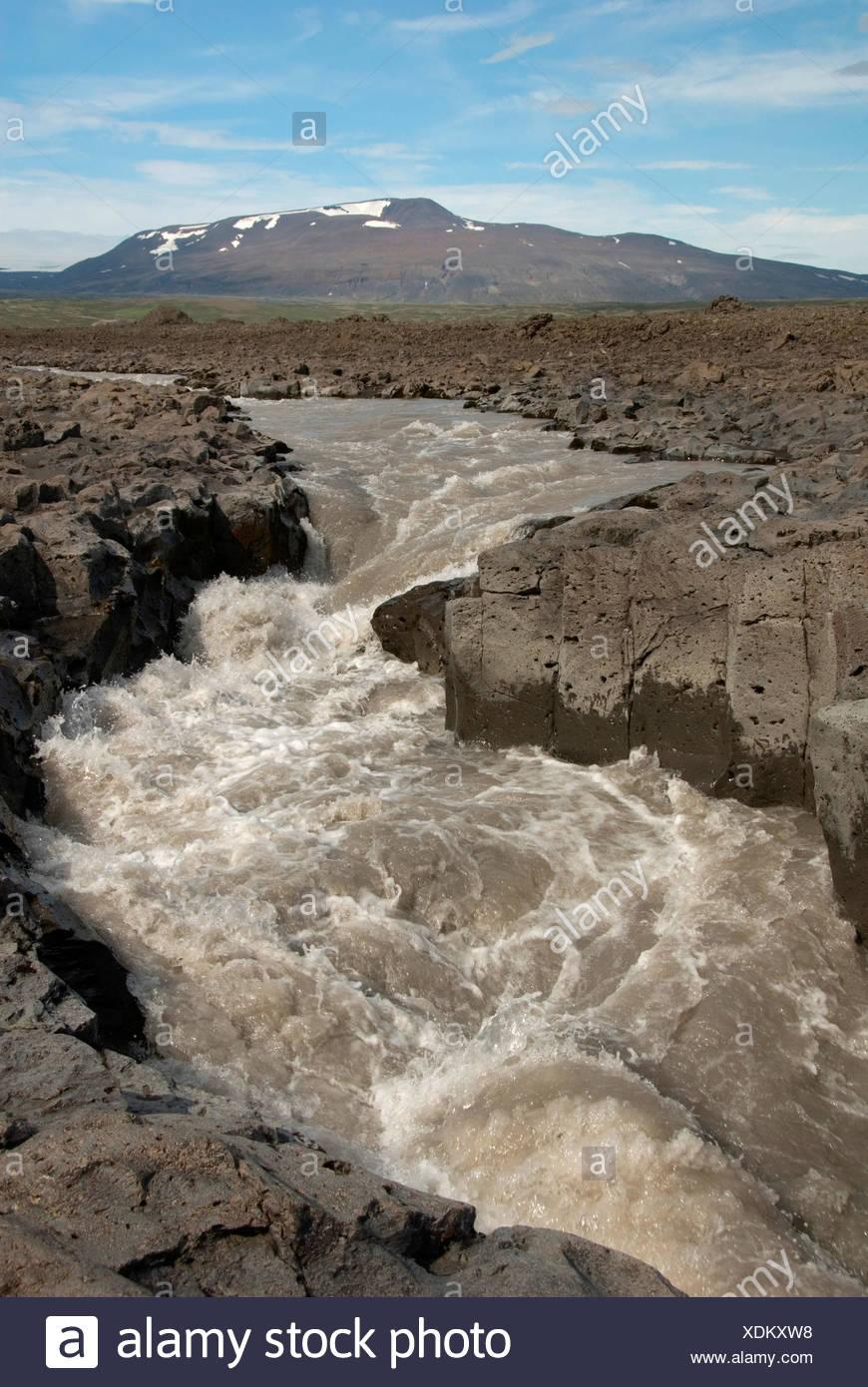 Geita river az Kaldadalsvegur 550, Iceland, Kaldidalur - Stock Image