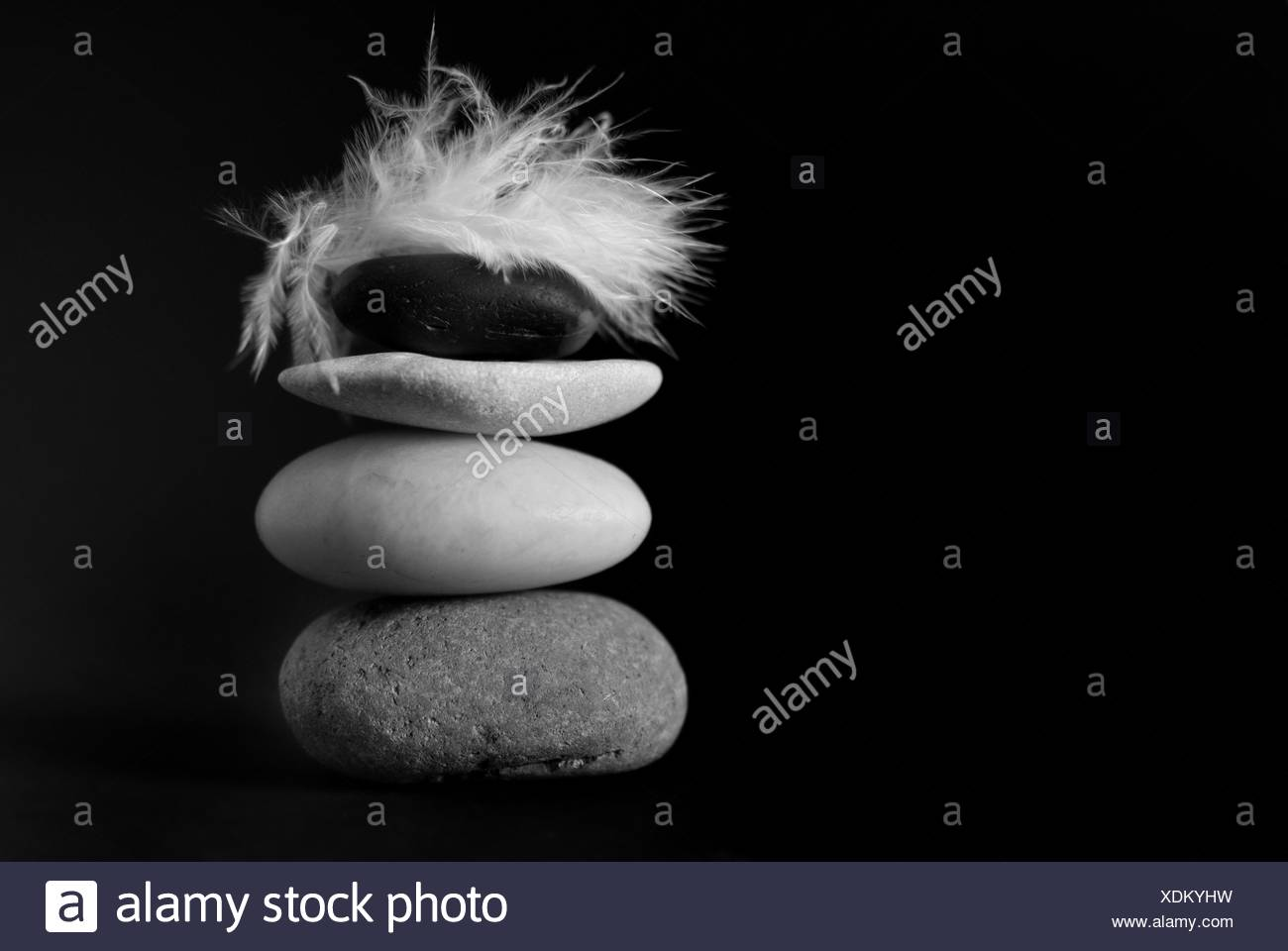tower health stone bw black swarthy jetblack deep black blank european - Stock Image