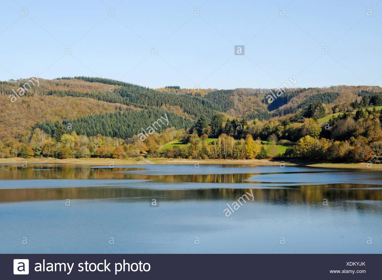 Oberauer Reservoir, Esch sur Sûre, Sauer or Sûre River, Upper Sûre National Park, Luxembourg, Europe, PublicGround - Stock Image