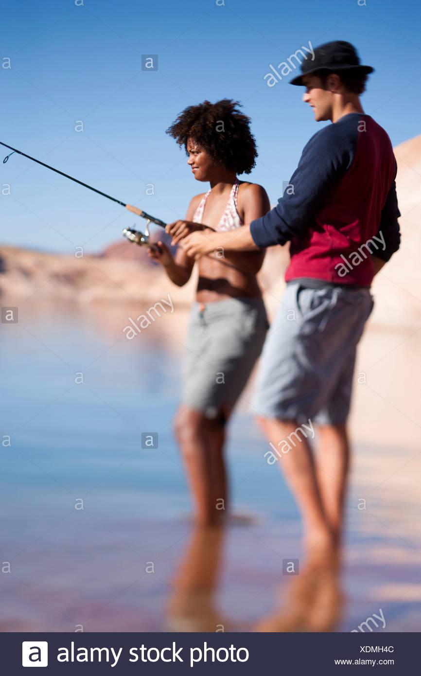 Couple fishing Stock Photo
