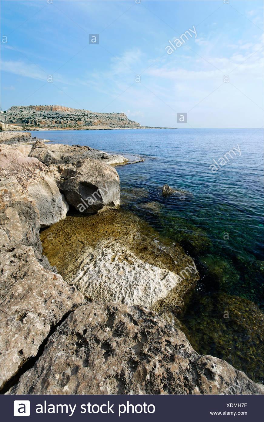 Limestone rocks at Cape Gkreko Peninsula, Larnaca, Cyprus, Mediterranian Sea, Asia - Stock Image