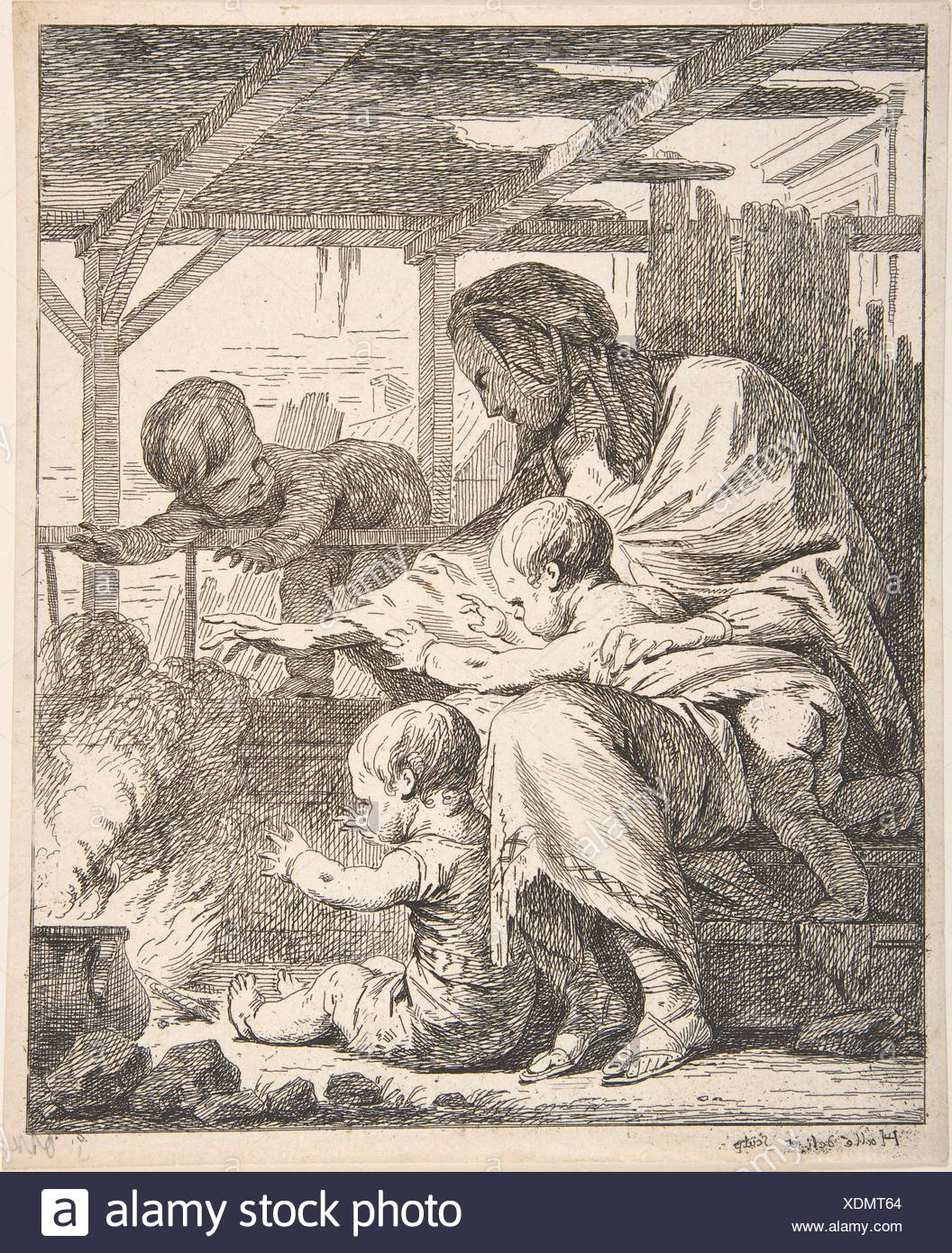 Family Warming Their Hands By a Fire. Artist: NoÃ«l Hallé (French, Paris 1711-1781 Paris); Date: 18th century; Medium: Etching; Classification: - Stock Image