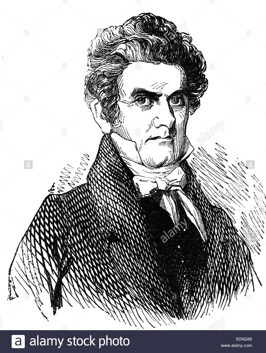 Calhoun, John Caldwell, 18.3.1782 - 31.3.1860, American politician, Vice President of the USA 4.3.1825 - 28.12.1832, portrait, wood engraving, 19th century, Stock Photo