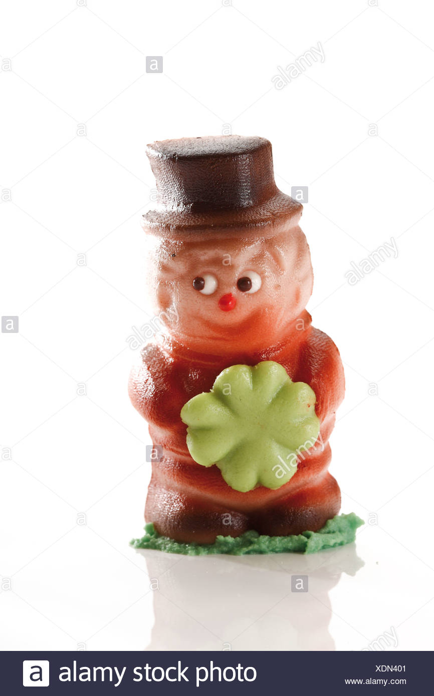 Small chimney sweeper, made of marzipan - Stock Image