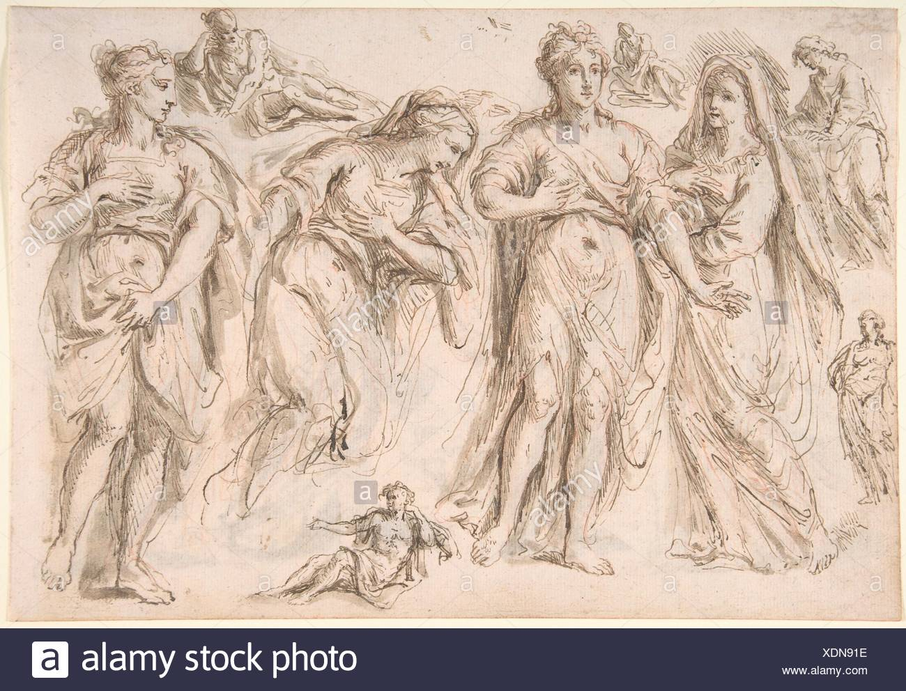 Studies of draped female and male figures; verso: Studies of draped female figures. Artist: Bartholomaeus Ignaz Weiss (German, Munich 1730-1814/15 - Stock Image