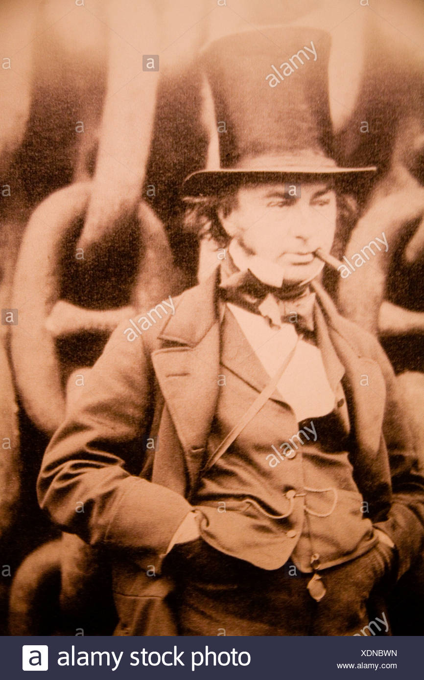 Photograph Isambard Kingdom Brunel famous english victorian engineer inventor in iconic pose with billycock top hat in front - Stock Image