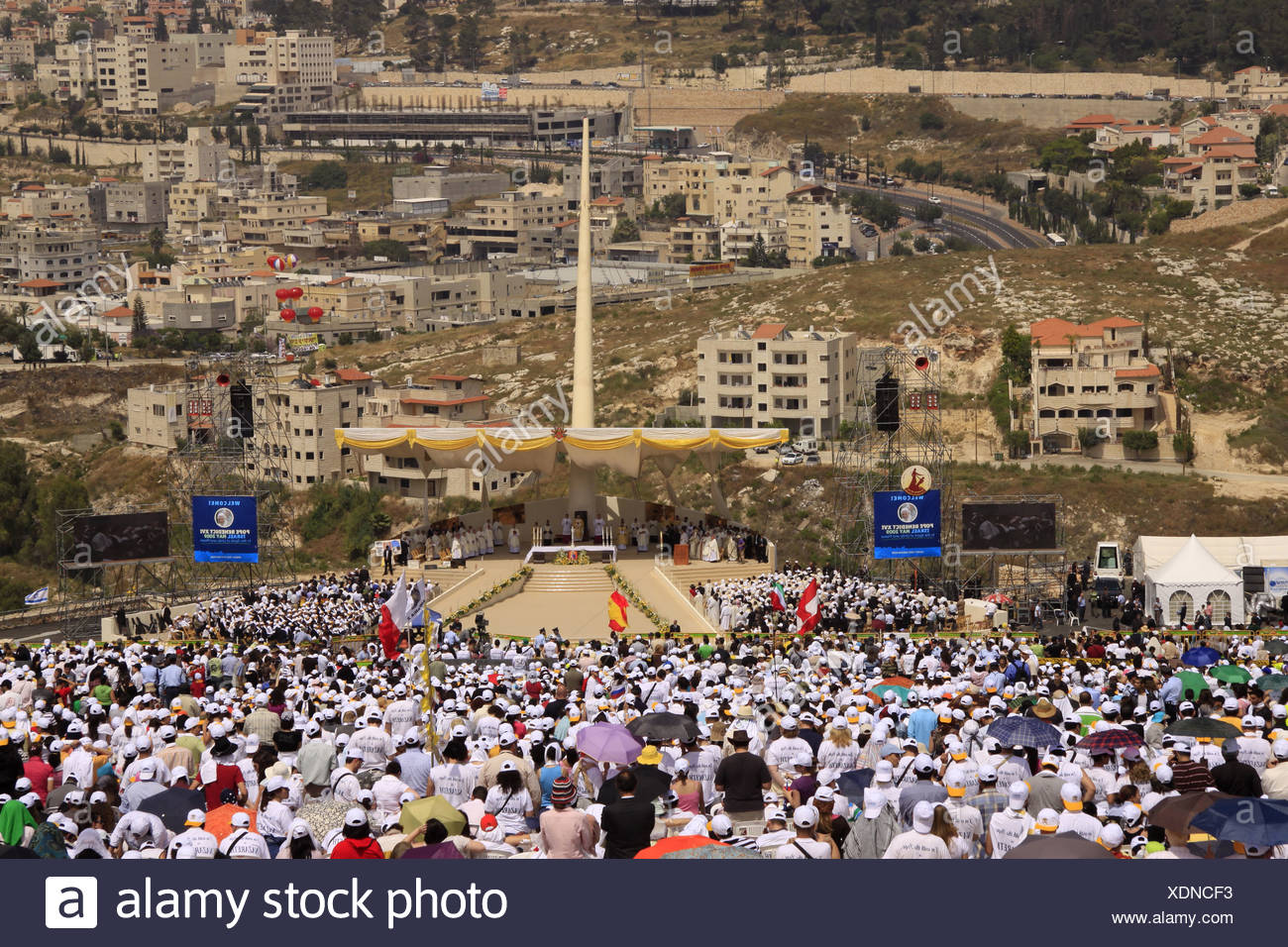 Israel, Nazareth, Israel, Galilee, the Pontifical Mass celebrated by His Holiness Pope Benedict XVI  on the Mount of the Stock Photo