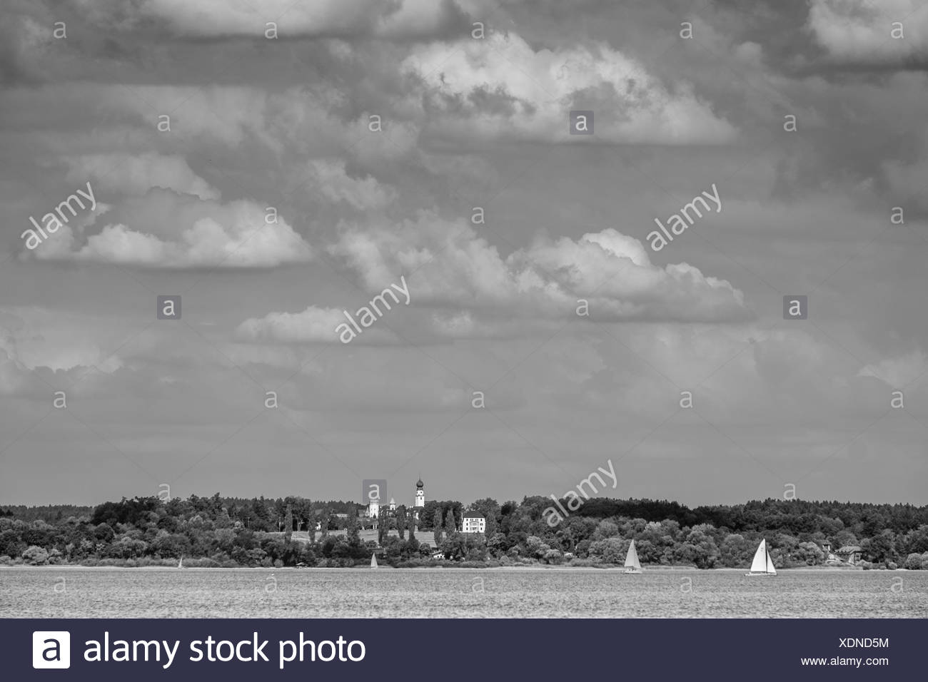 gut ising with panoramic chiemsee,chiemgau,bayern,germany - Stock Image