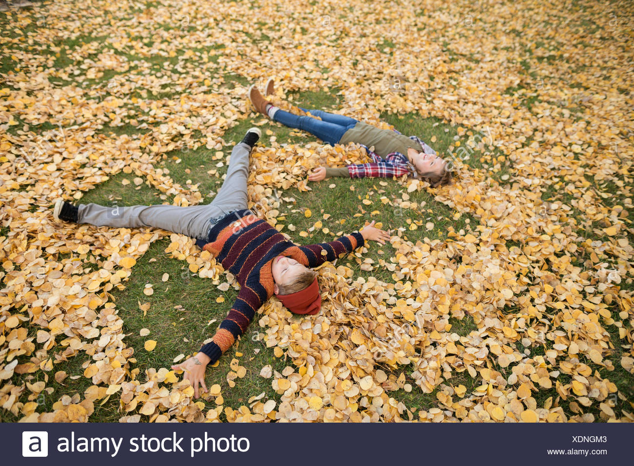 Brother and sister making angels in autumn leaves - Stock Image