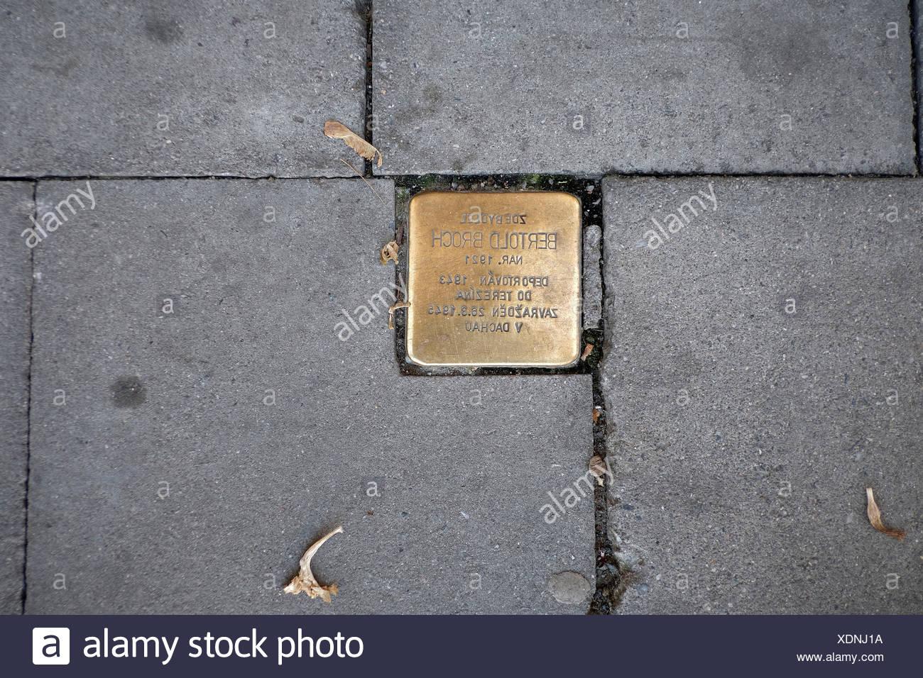 Europe, Czech Republic, Olomouc, Olmütz, pavement, golden commemorative stone - Stock Image