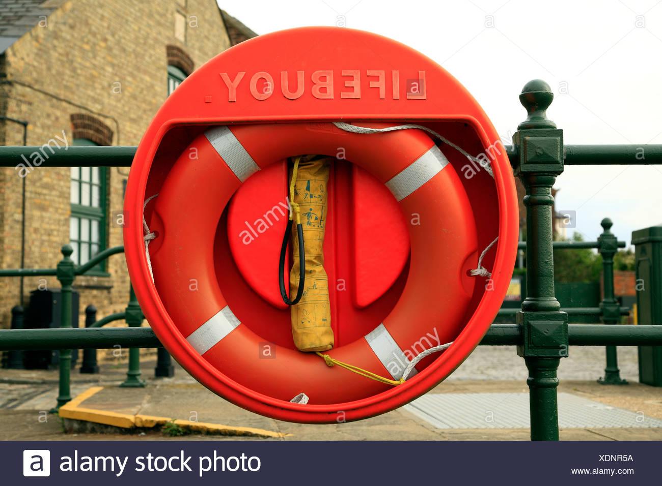 Lifebuoy, riverside life saving equipment, England UK, buoy, buoys lifebuoys - Stock Image
