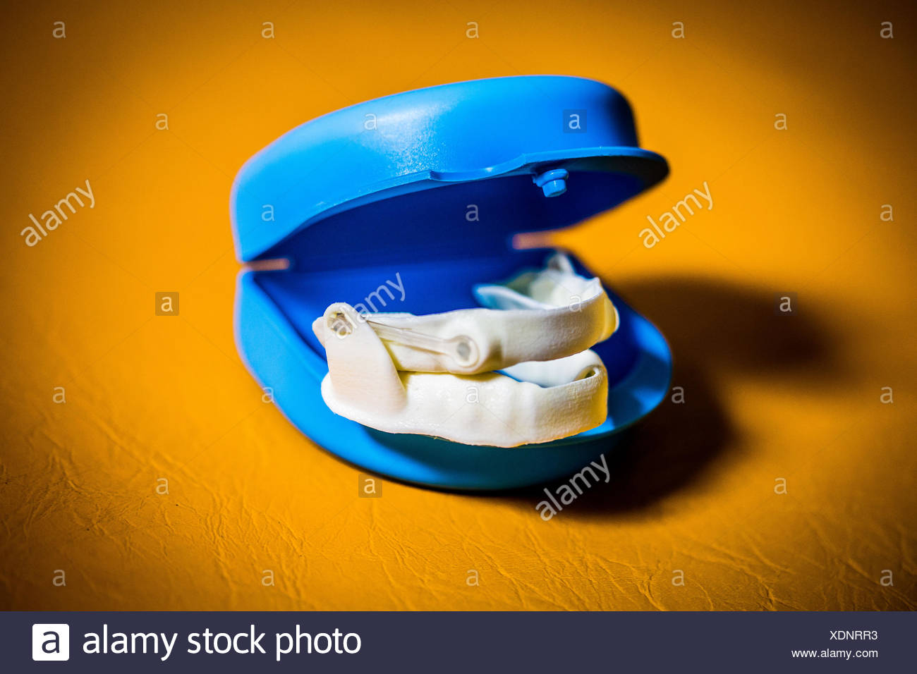 Anti-snoring mandibular orthosis. - Stock Image