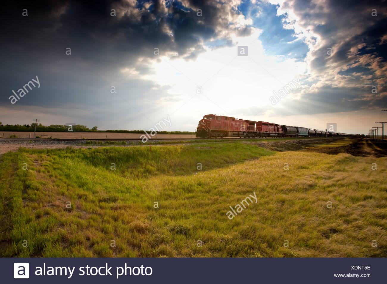 Train crossing Prairie near Morse, Saskatchewan, Canada. - Stock Image