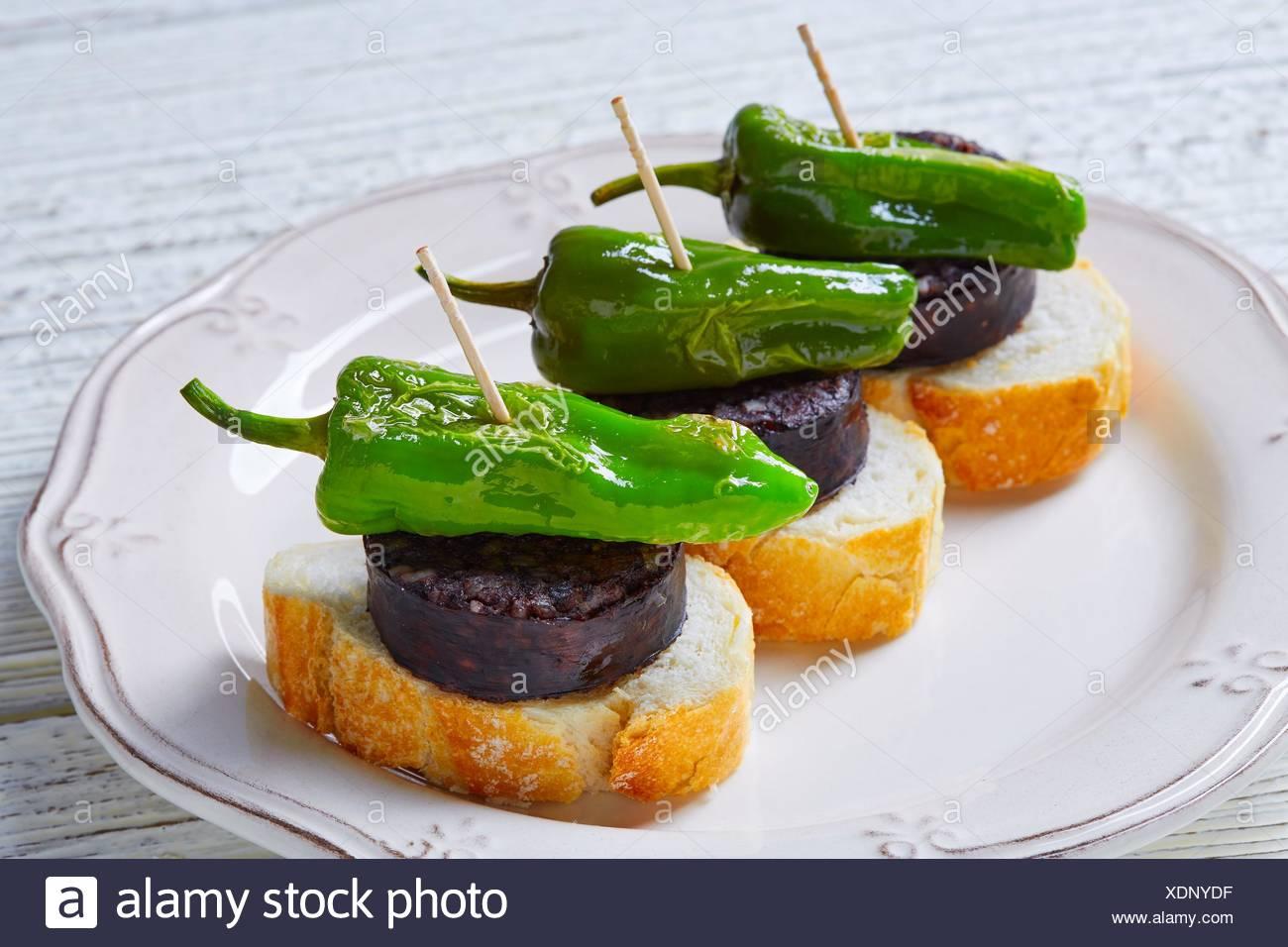 pinchos Burgos morcilla with padron pepper tapas pintxos from Spain food. - Stock Image