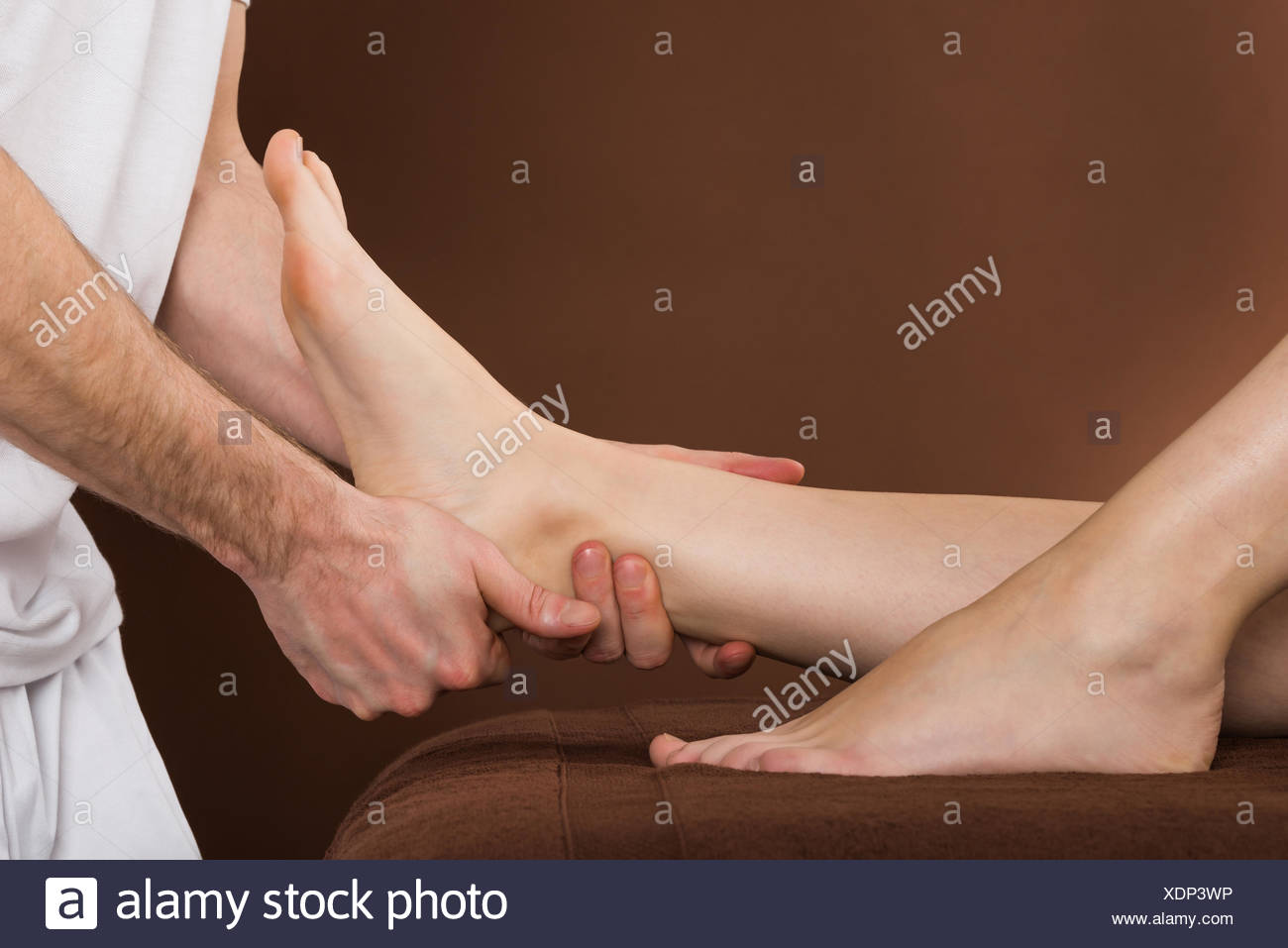 Woman Receiving Foot Massage At Spa - Stock Image