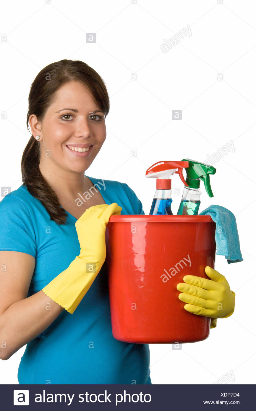 woman with bucket cleaning agent - Stock Image