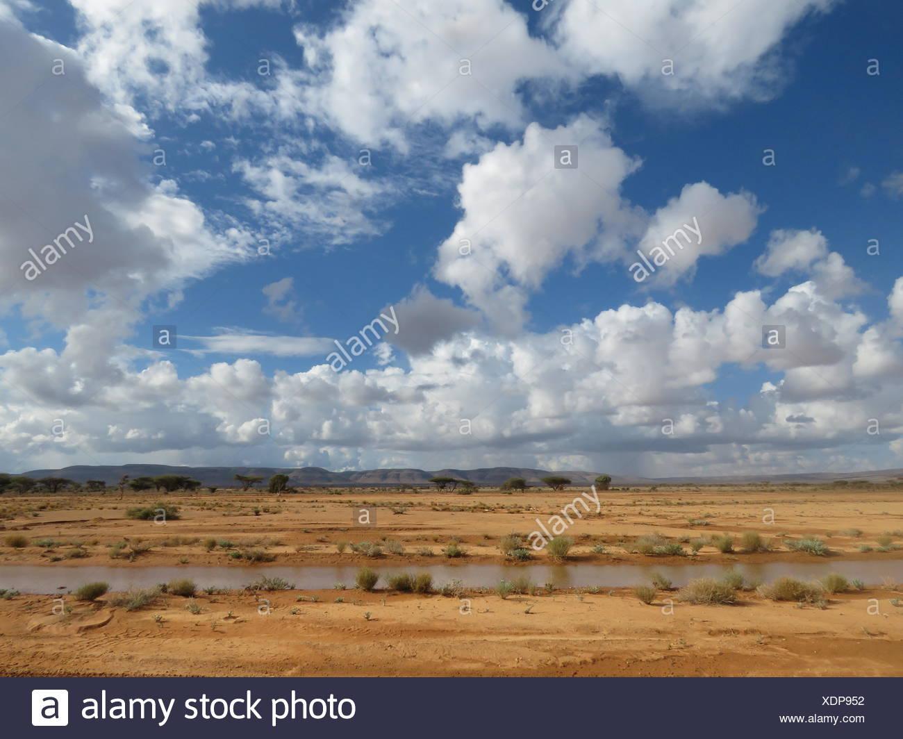 River in barren landscape in Somalia. - Stock Image