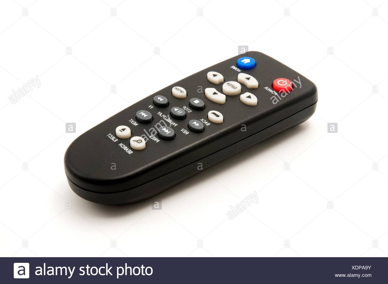 Multimedia Remote Control on a white background - Stock Image