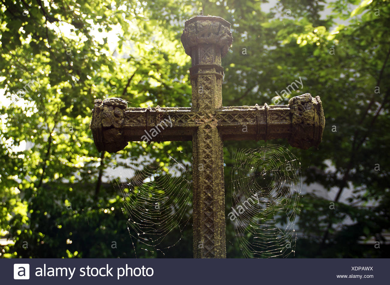 Old grave cross with cobwebs Stock Photo