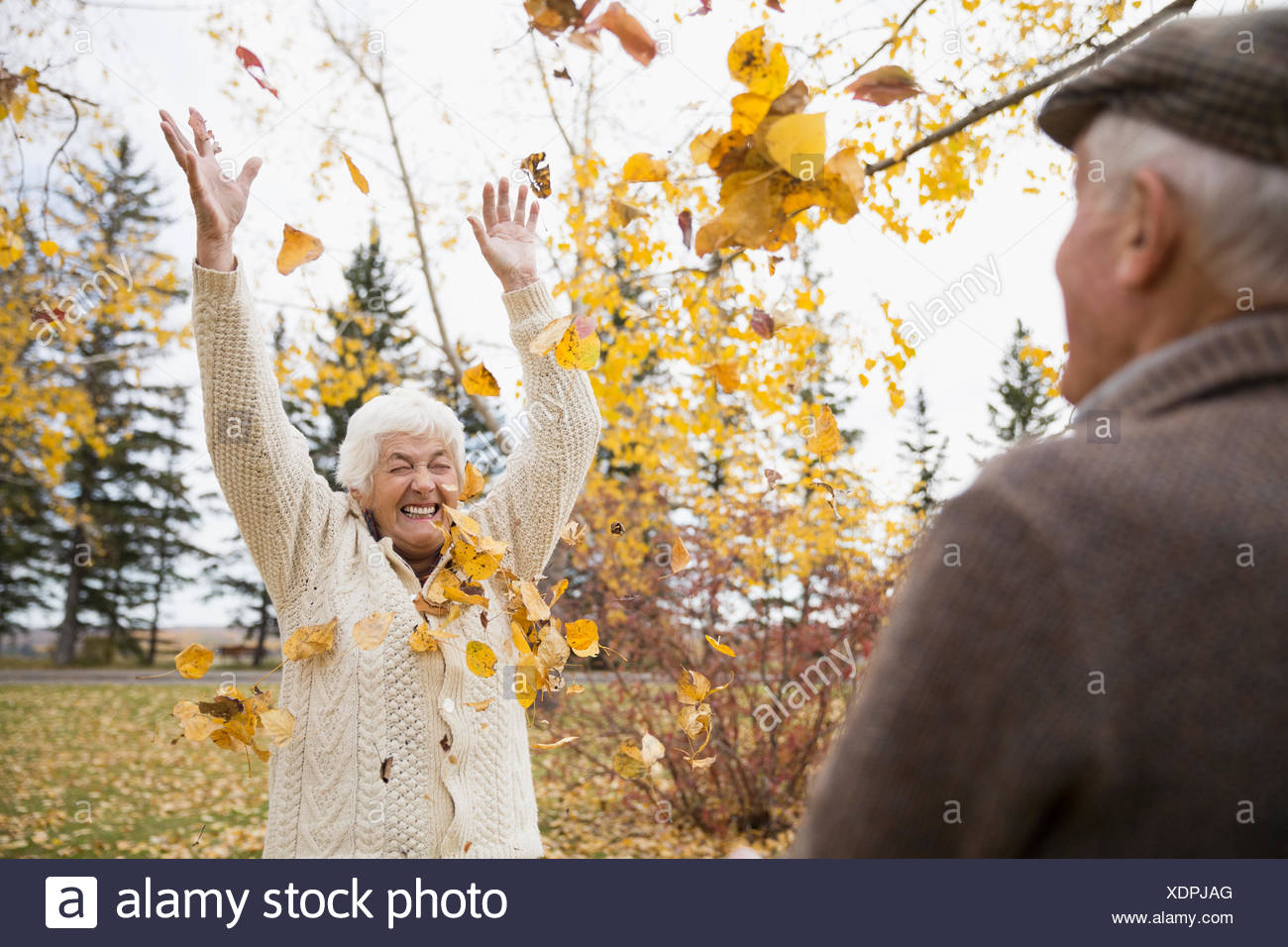Playful senior couple throwing autumn leaves overhead in park - Stock Image