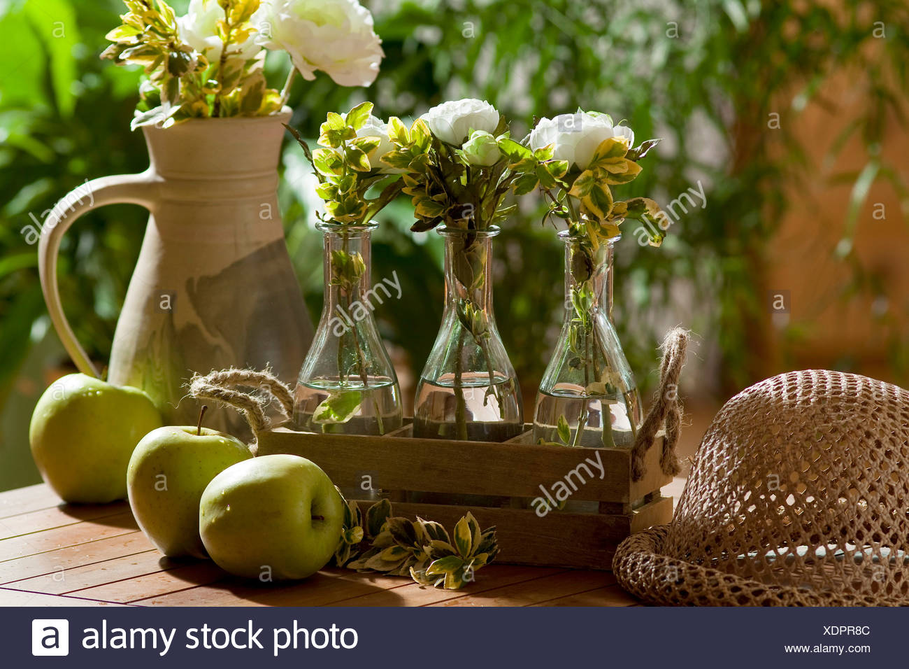 Crowfoot And Green Apple Decorations Stock Photo 283857628