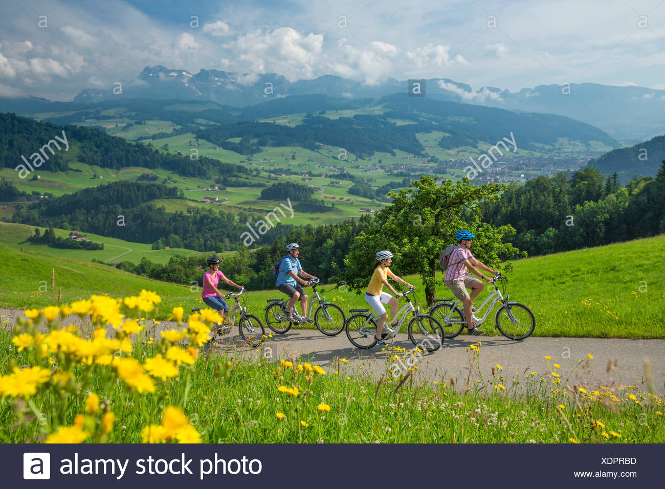 Heart route, biker, heart route, bicycle, bicycles, bike, riding a bicycle, canton, Appenzell, Innerroden, Flyer, eBike, electri - Stock Image