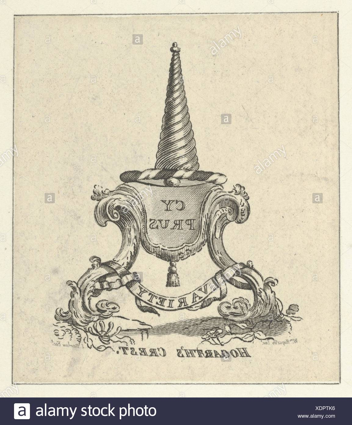 Hogarth's Crest. Engraver: Engraved by Inigo Barlow (British, active ca. 1790); Artist: Said to be designed by William Hogarth (British, London - Stock Image