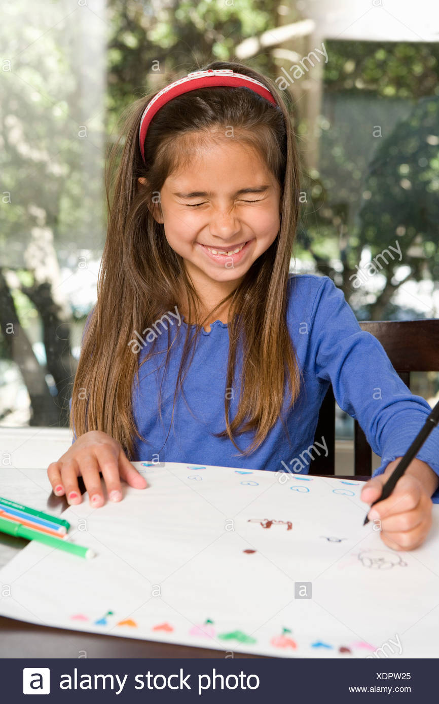 Girl Drawing With Her Eyes Closed Stock Photo 283859021 Alamy