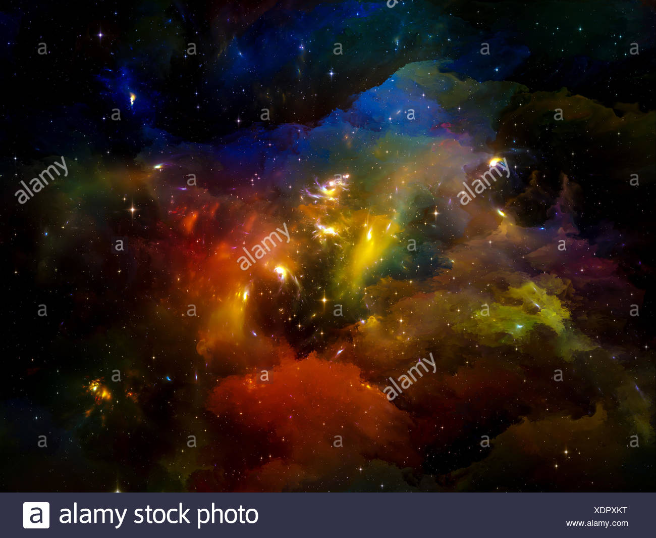 Universe Is Not Enough series. Backdrop of fractal elements, lights and textures on the subject of fantasy, science, religion and design - Stock Image
