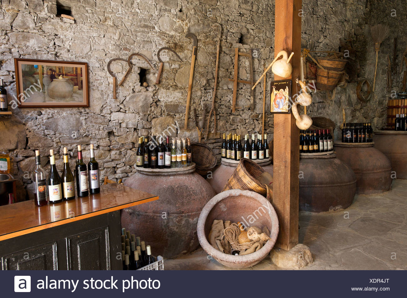 South Cyprus, Cyprus, Europe, Greek, Omodos, Troodos, wine, wine store, wine sales, business, trade, shops, shopping, souvenir, - Stock Image