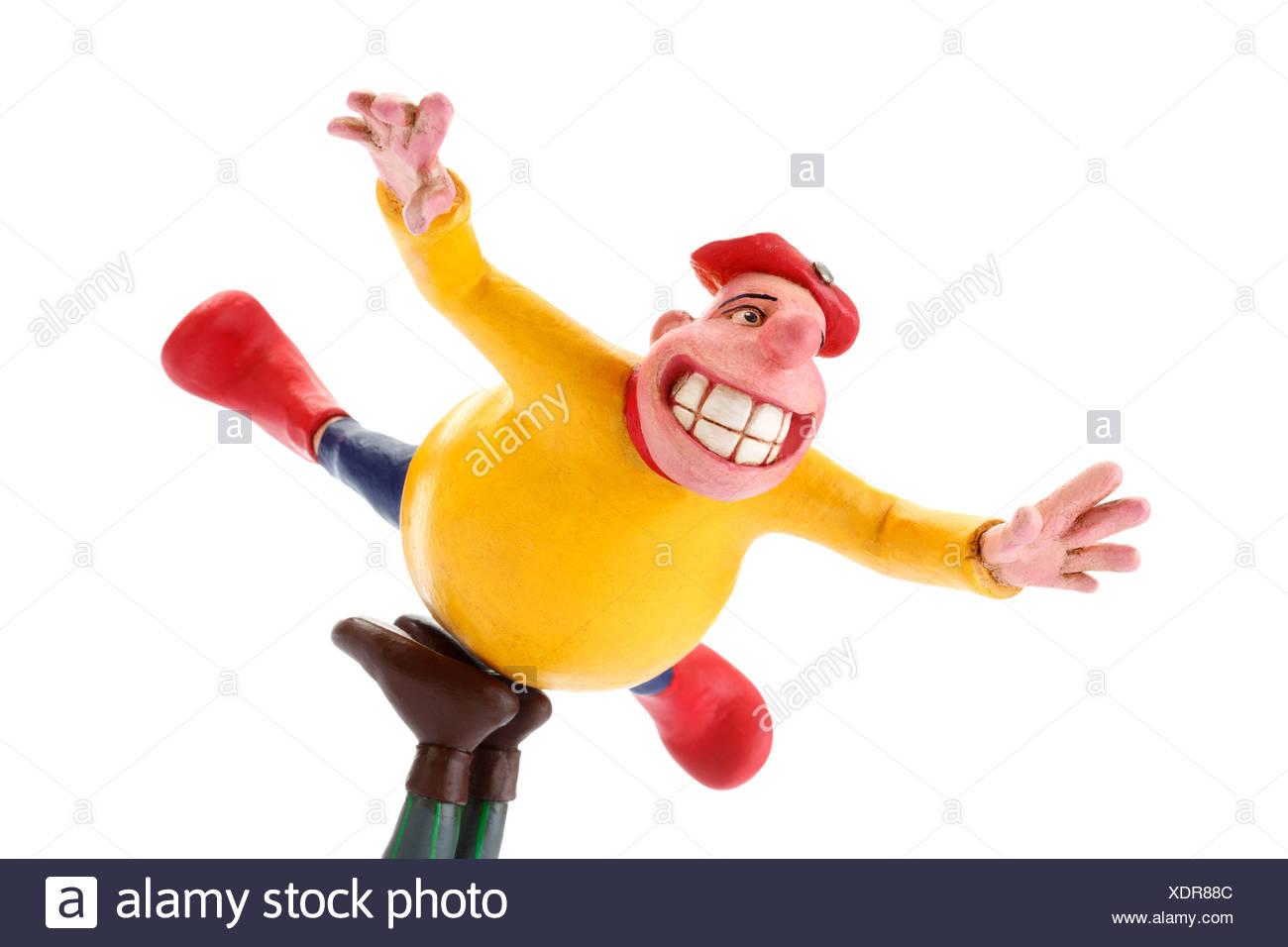 Fool, fat man in free fall, cartoon character - Stock Image