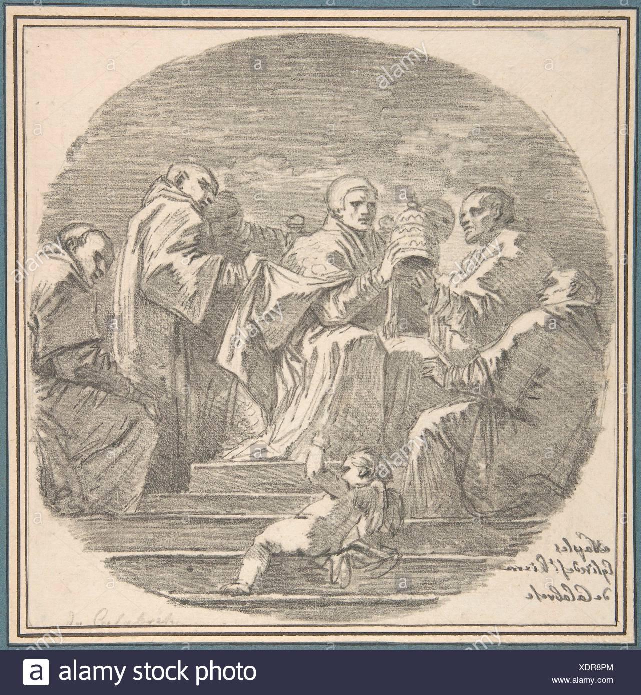 Saint Celestine V Renouncing the Papacy, after Mattia Preti. Artist: Jean Honoré Fragonard (French, Grasse 1732-1806 Paris); Artist: After Mattia - Stock Image