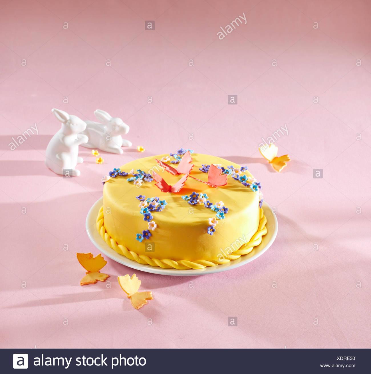 Stupendous Almond Cake Flowers Butterflies Stock Photos Almond Cake Flowers Personalised Birthday Cards Petedlily Jamesorg