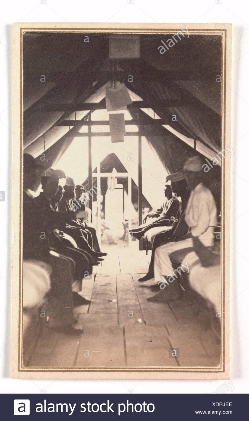 [Wounded Soldiers on Cots, possibly at Harewood Hospital]. Artist: Reed Brockway Bontecou (American, 1824-1907); Date: 1865; Medium: Albumen silver - Stock Image