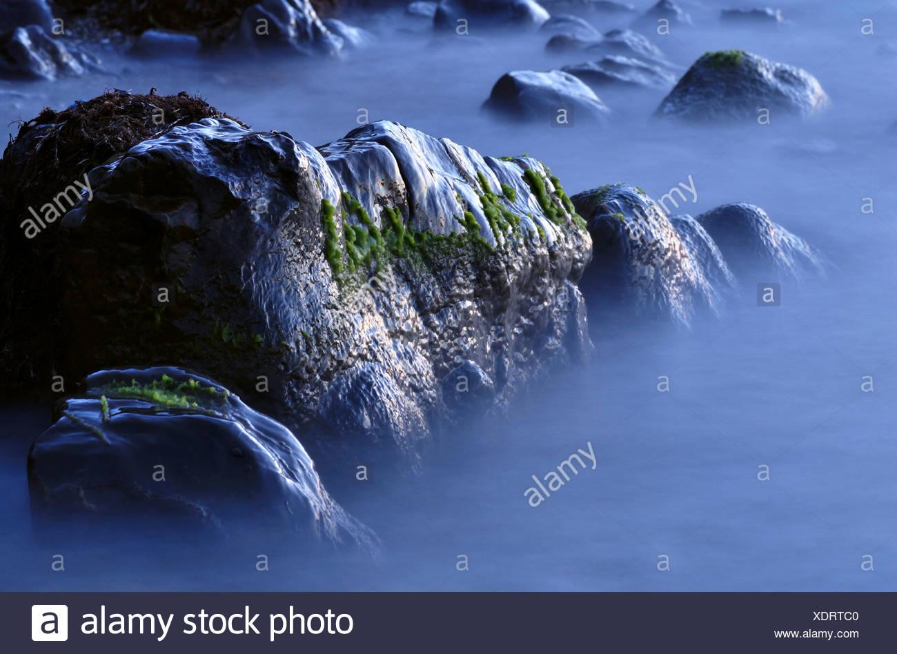 rocks on the black sea coast in koktebel area on crimea - Stock Image