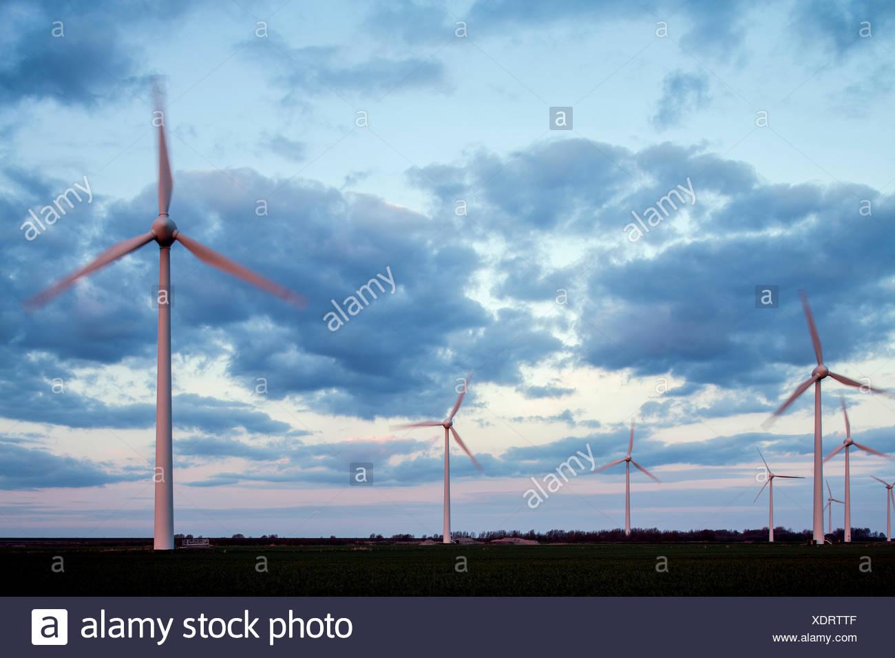 Wind park Wybelsumer Polder, Emden, East Frisia, Lower Saxony, Germany - Stock Image