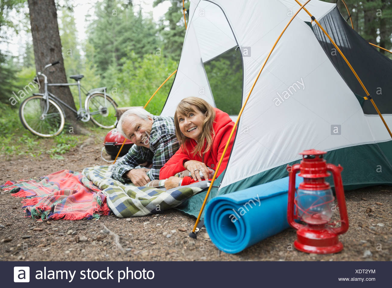 Happy senior couple looking out of tent at campsite - Stock Image