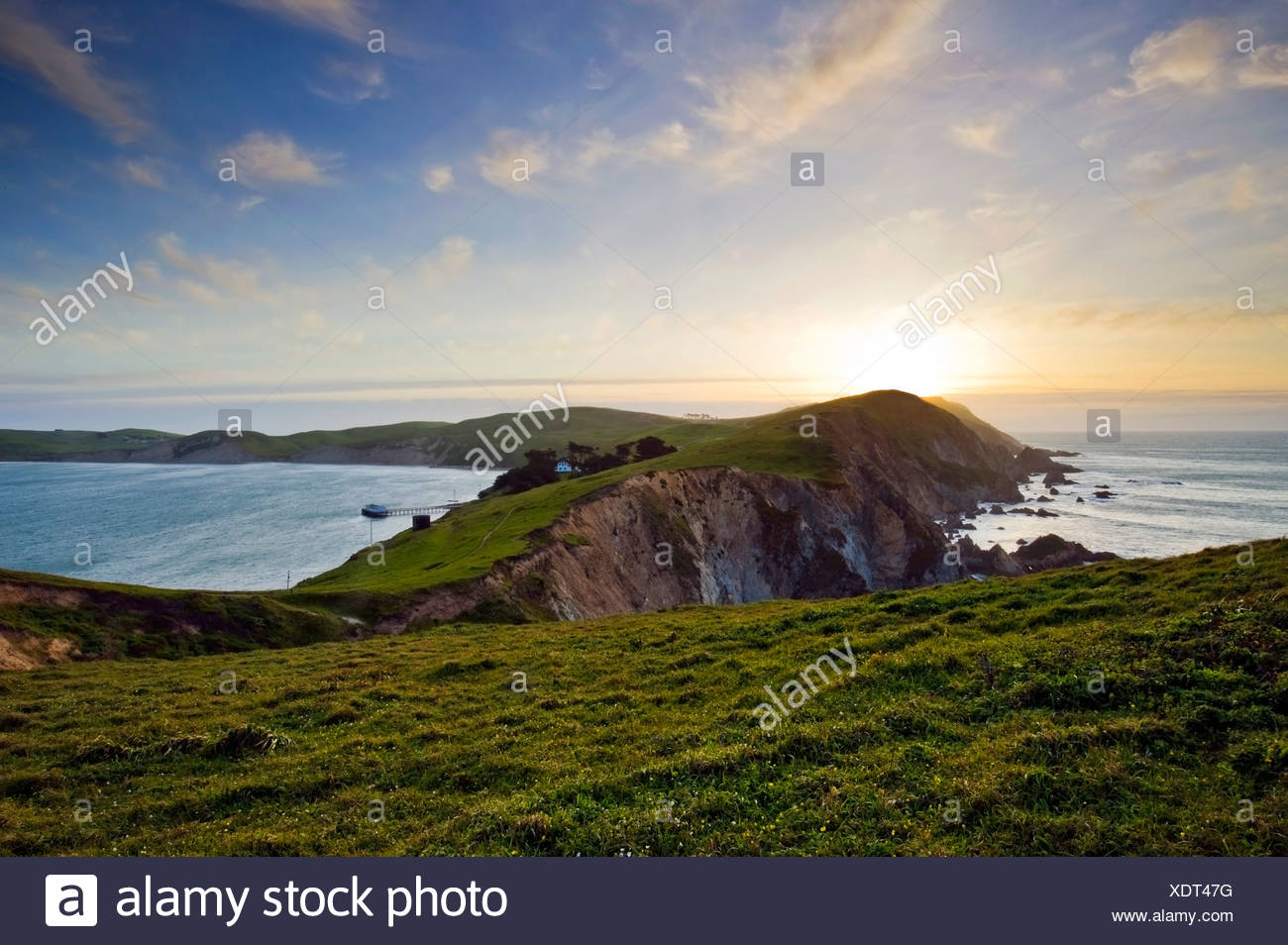Point Reyes National Seashore at sunset on the northern California coast, USA. - Stock Image