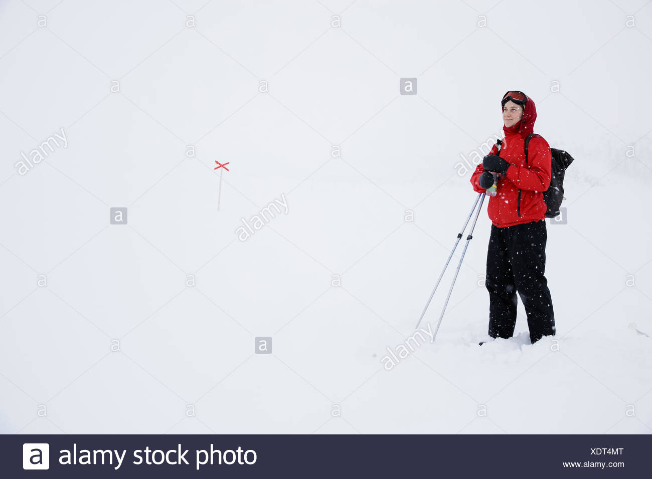 Woman wearing ski suit in winter landscape, Sweden, Lapland - Stock Image