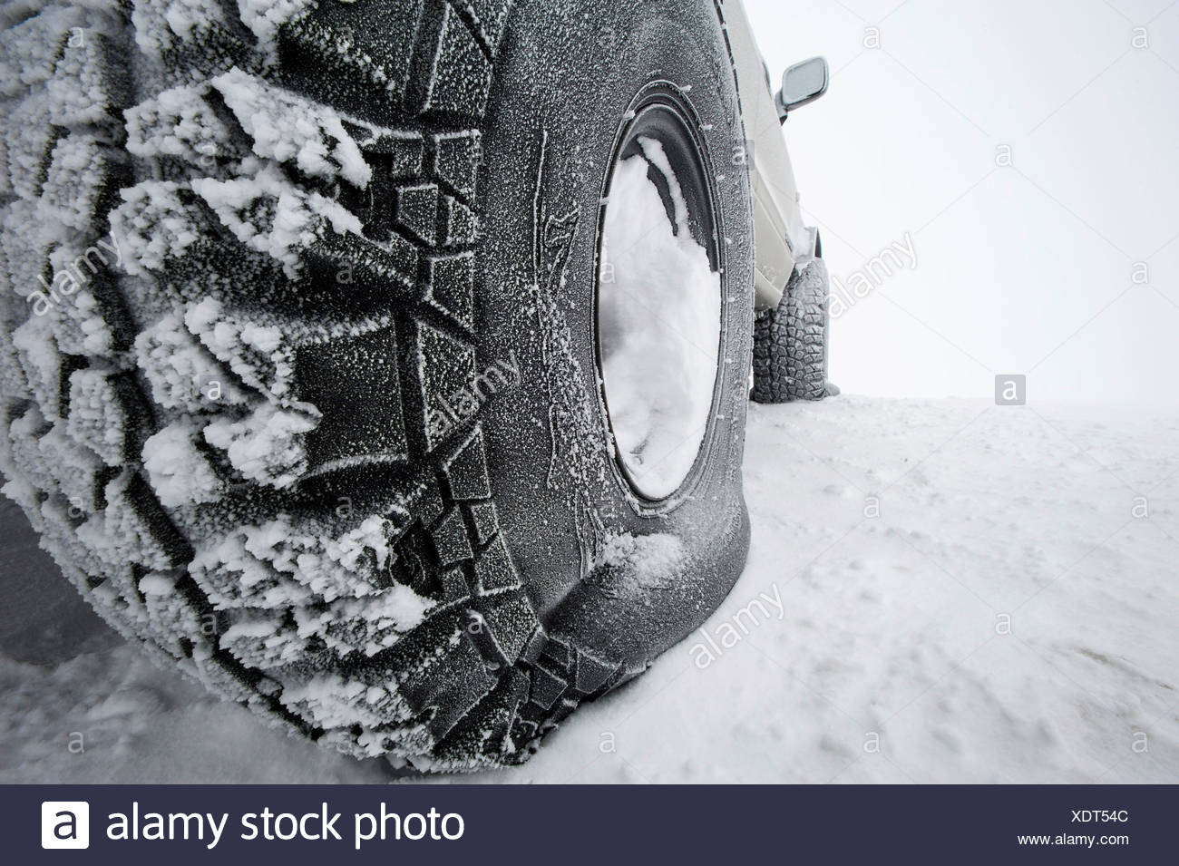 Super Jeep tyres with low air pressure for better grip on snow, Iceland, Europe - Stock Image