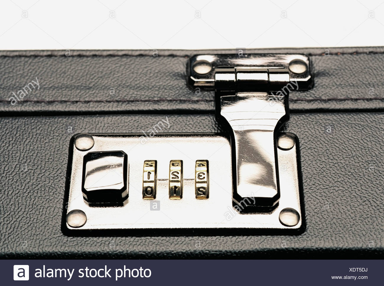 Combination lock on a briefcase Stock Photo