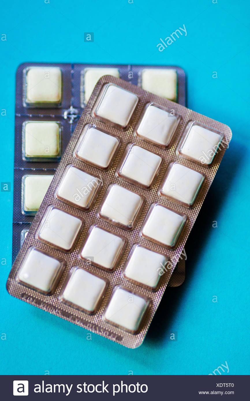 Nicotine gums. - Stock Image