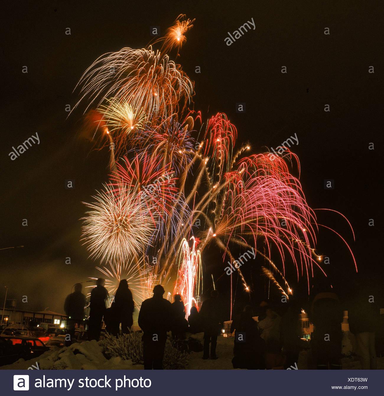 New Years Eve Reykjavik Iceland - Stock Image