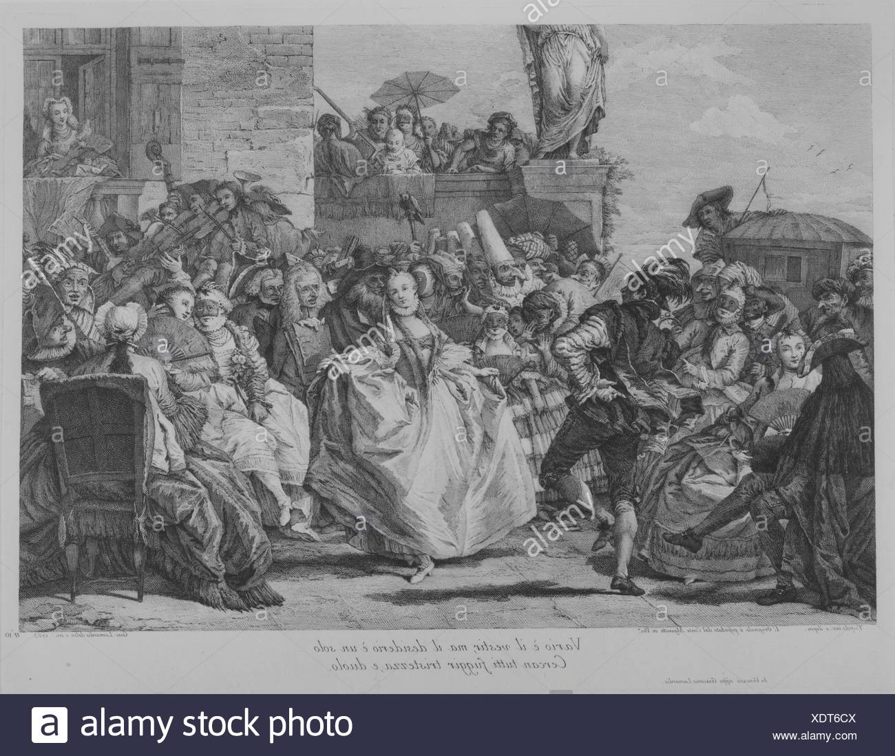 The Minuet. Series/Portfolio: Plate 10 from Selection of Pictures from Venetian Collections, series of nineteen prints; Artist: Giacomo Leonardis - Stock Image