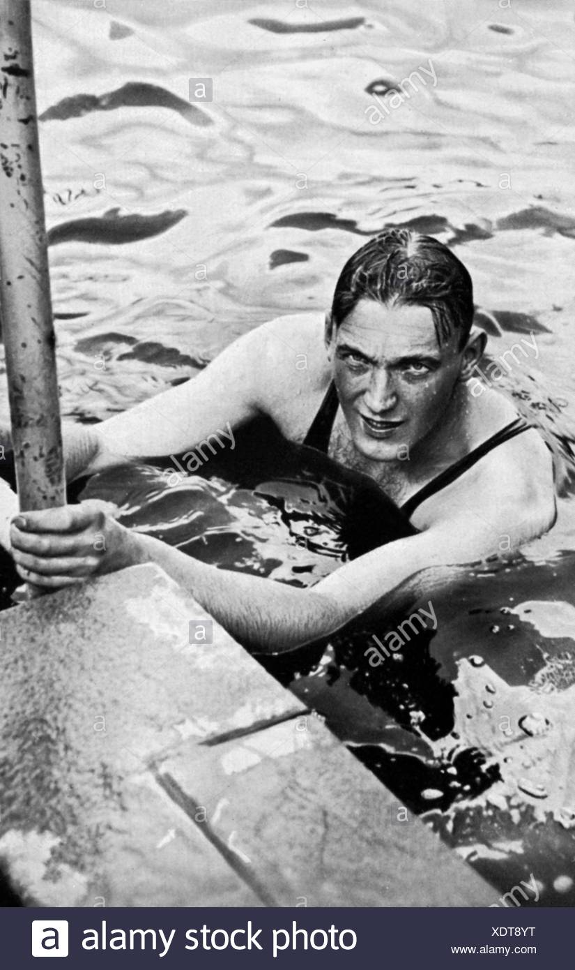 Sietas, Erwin, 24.7.1910 - 18.7.1989, German swimmer, half length, 1935, Additional-Rights-Clearances-NA - Stock Image