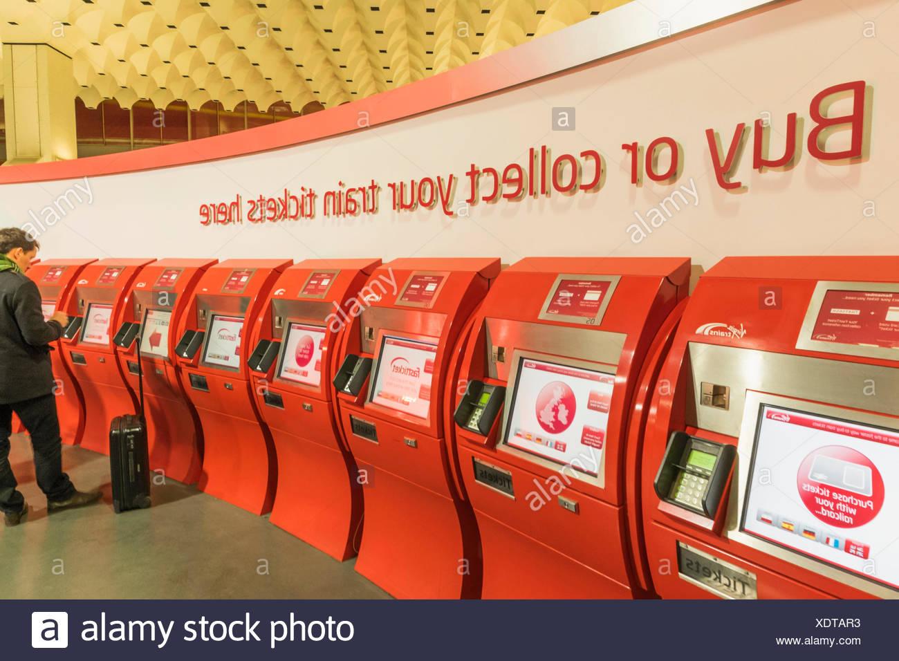 England, London, Euston Train Station, Self Service Ticket Machines - Stock Image